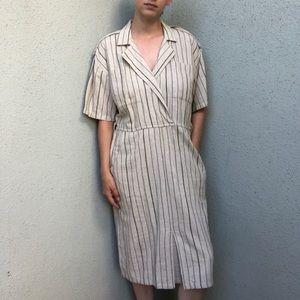 [vintage] cotton natural stripe midi dress
